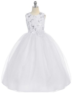 Sequined Ivory A-line Girls Pageant Dress with Flower