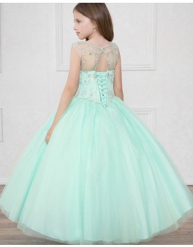 Sheer Mint Beading Tulle Ball Gown Pageant Dress for Girls