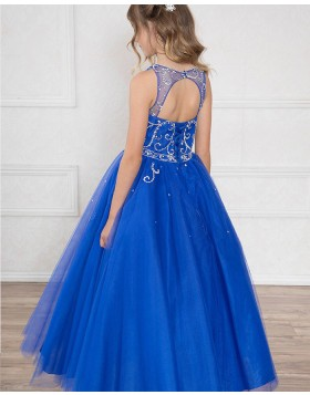 Jewel Royal Blue Beading Sheer Tulle Girls Pageant Dress