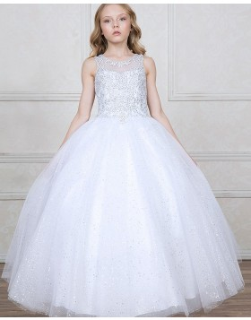 Jewel Sheer Sparkling Beading White Girls Pageant Dress