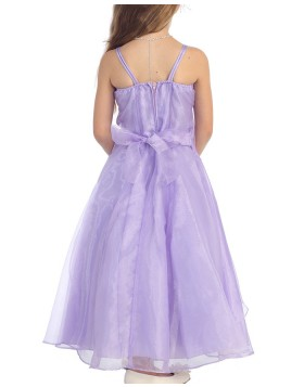 Square Beading Ruffled Lavender Girls Pageant Dress with Flower