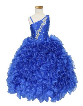 Asymmetric Beading Ruffled Blue Girls Pageant Dress