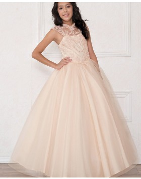 High Neck Sheer Lace Ball Gown Girls Pageant Dress