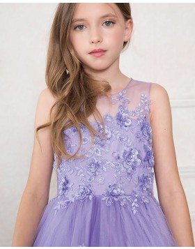 Purple Sheer Neck Appliqued Girls Pageant Dress