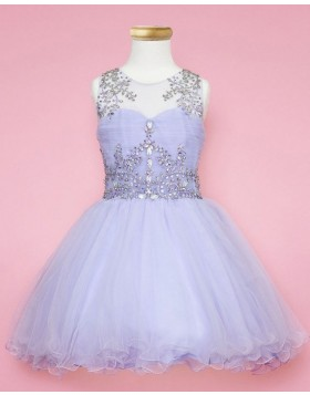 Lavender Sheer Beading Girls Pageant Dress