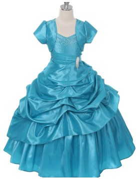 Green Taffeta Ruffled Beading Girls Pageant Dress with Jacket