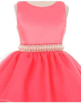 Jewel Red Layered Beading Girls Pageant Dress