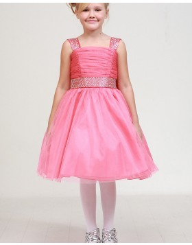 Square Ruched Beading Pink Girls Pageant Dress
