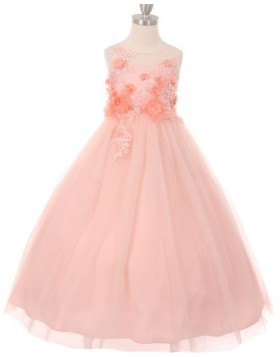 Sheer Neck Handmade Flowers Pink Girls Pageant Dress