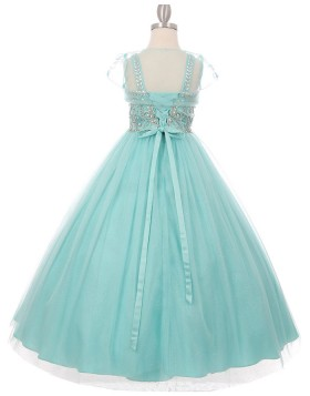 Green Beading Scoop Girls Pageant Dress with Short Sleeves