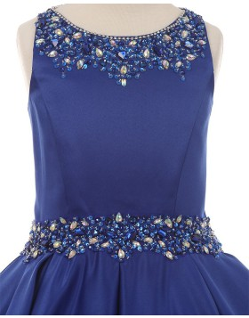 Jewel Beading Satin Blue Pleated Girls Pageant Dress