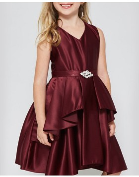 V-neck Burgundy Satin Pleated Girls Pageant Dress with Belt