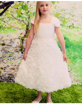 Square Neck Ivory Flower Girls Pageant Dress