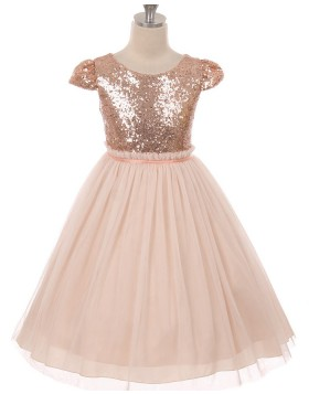 Sequined Gold Bodice Tulle Girls Pageant Dress