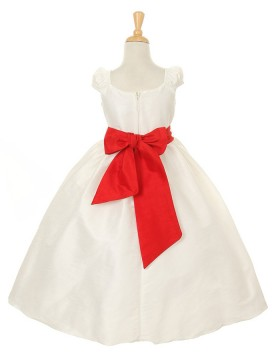 Ivory Taffeta Ruffled Ball Gown Girls Pageant Dress with Belt