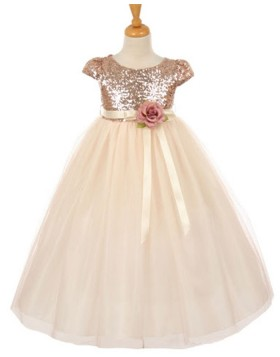 Gold Sequined Bodice Pageant Dress for Girls with Flower