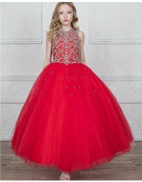 High Neck Beading Red Tulle Girls Pageant Dress
