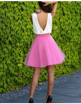 White and Blush Tulle V-neck Short Party Dress HD3349