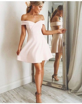 Off the Shoulder Pearl Pink Satin Graduation Dress HD3350