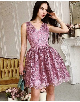V-neck Lace Pleated Purple A-line Homecoming Dress HD3351