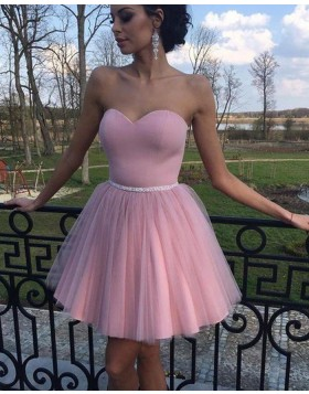 Simple Sweetheart Pleated Tulle Homecoming Dress with Beading Belt HD3353