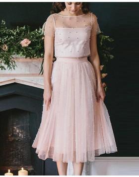 Jewel Pink Sheer Tulle Two Piece Knee Length Sleeved Graduation Dress HD3356