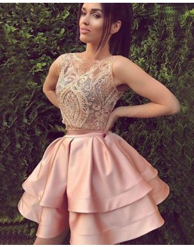 Jewel Two Piece Lace Bodice Blush Satin Homecoming Dress HD3357