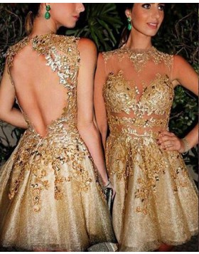 High Neck Beading and Appliqued Sparkling Gold Party Dress HD3358
