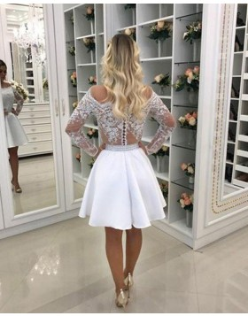 White Off the Shoulder Lace Appliqued Bodice Chiffon Homecoming Dress with Long Sleeves HD3359