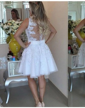 Amazing Round Neck Beading and Appliqued White Homecoming Dress HD3361