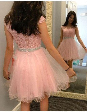 Sheer Jewel Pink Beading Appliqued Homecoming Dress HD3364