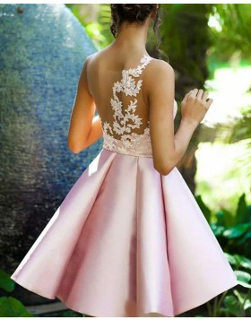 One Shoulder Lace Appliqued Bodice Satin Pink Homecoming Dress HD3367