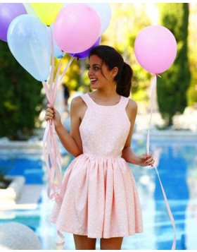 Jewel Lace Pleated Pink Homecoming Dress HD3368