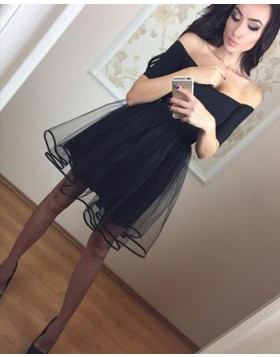 Off the Shoulder Simple Black Tulle Homecoming Dress with Short Sleeves HD3369