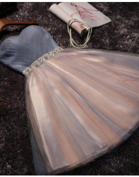 Sweetheart Grey and Pink Ruched Beading Tulle Short Party Dress HD3370