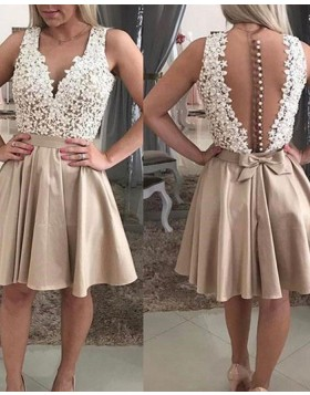 V-neck White and Chocolate Lace Bodice Satin Homecoming Dress HD3371