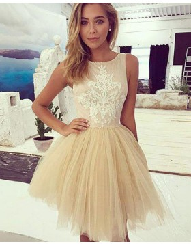 Pink and Champagne Appliqued Jewel Homecoming Dress with Tulle Skirt HD3372