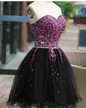 Sweetheart Beading Homecoming Dress with Black Tulle Skirt HD3375