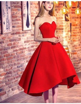 Sweetheart High Low Satin Red Formal Party Dress HD3376