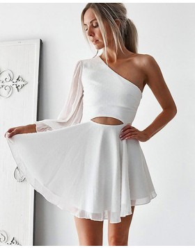 White One Shoulder Cutout Chiffon Homecoming Dress with Long Sleeve HD3379