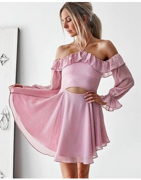 Halter Lavender Cutout Chiffon Homecoming Dress with Long Sleeves HD3380