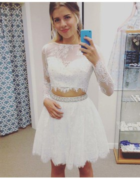 Jewel Two Piece Sheer Lace White Homecoming Dress with Long Sleeves HD3381