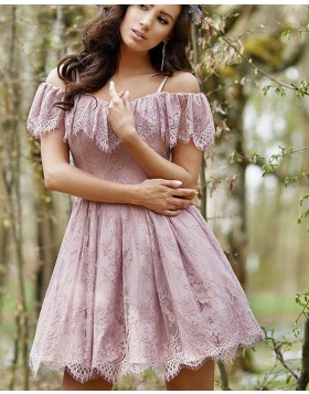 Spaghetti Straps Lace Pleated Lavender Homecoming Dress HD3382