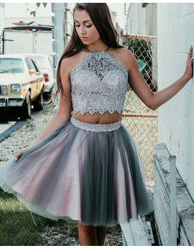 Halter Neck Pink and Grey Two Piece Lace Bodice Homecoming Dress HD3384