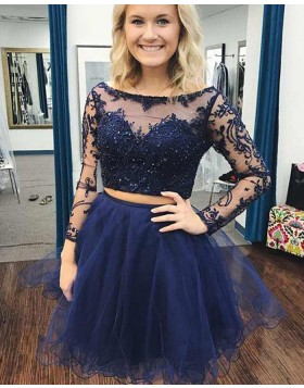 Two Piece Navy Blue Beading Embroidery Homecoming Dress with Long Sleeves HD3387