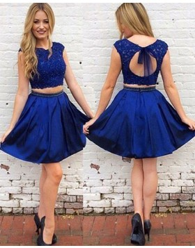 Two Piece Royal Blue Lace Bodice Satin Homecoming Dress HD3389