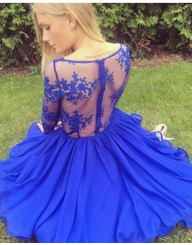 V-neck Lace Bodice Blue Satin Homecoming Dress with Long Sleeves HD3391