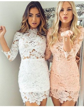 High Neck Lace Tight Graduation Dress with 3/4 Length Sleeves HD3392