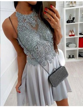 High Neck Lace Bodice Grey Chiffon Homecoming Dress HD3395