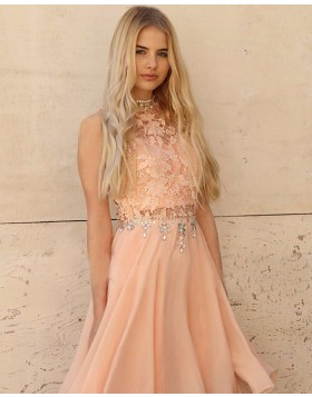 High Neck Lace Bodice Beading Chiffon Pink Homecoming Dress HD3396